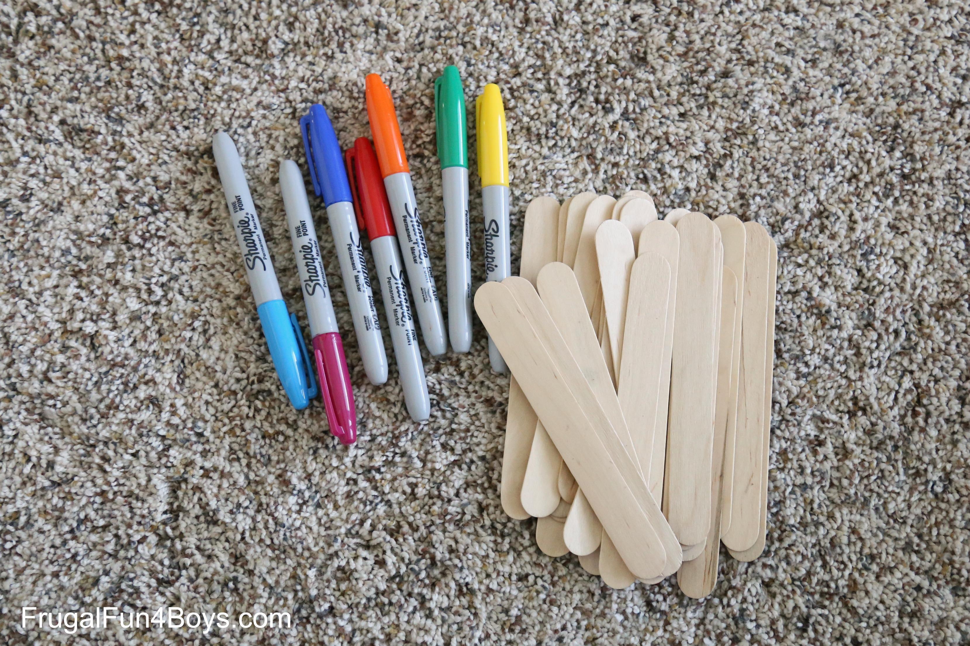 Craft Stick Color Dominos Preschool Activity