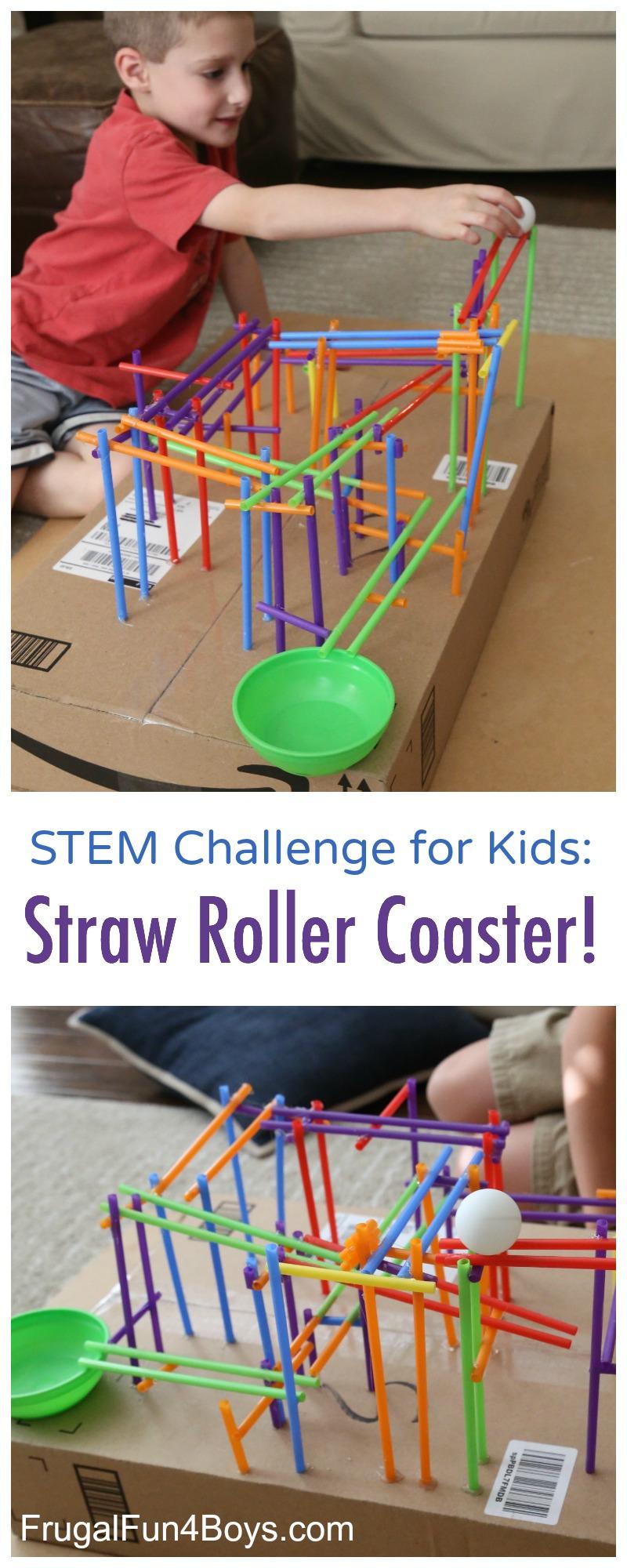STEM Challenge for Kids: Build a Straw Roller Coaster!