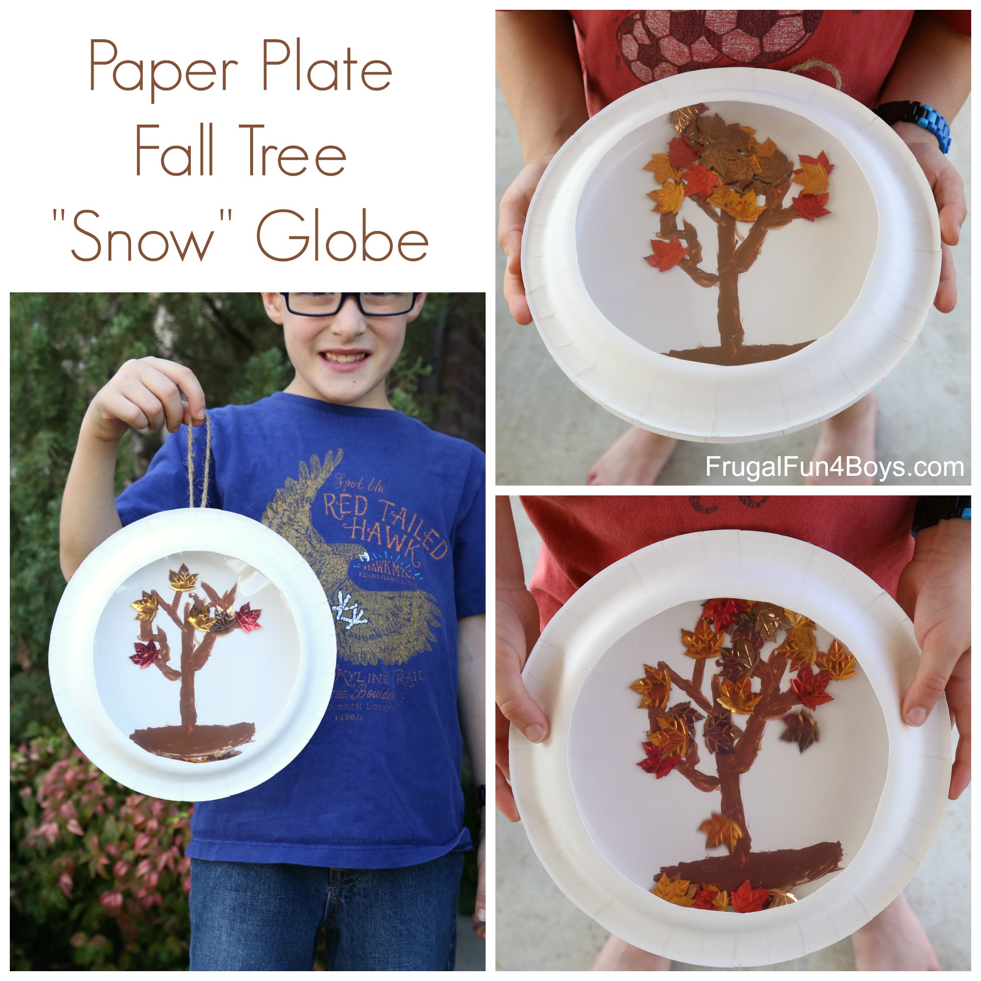 "Paper Plate Fall Tree ""Snow"" Globes"