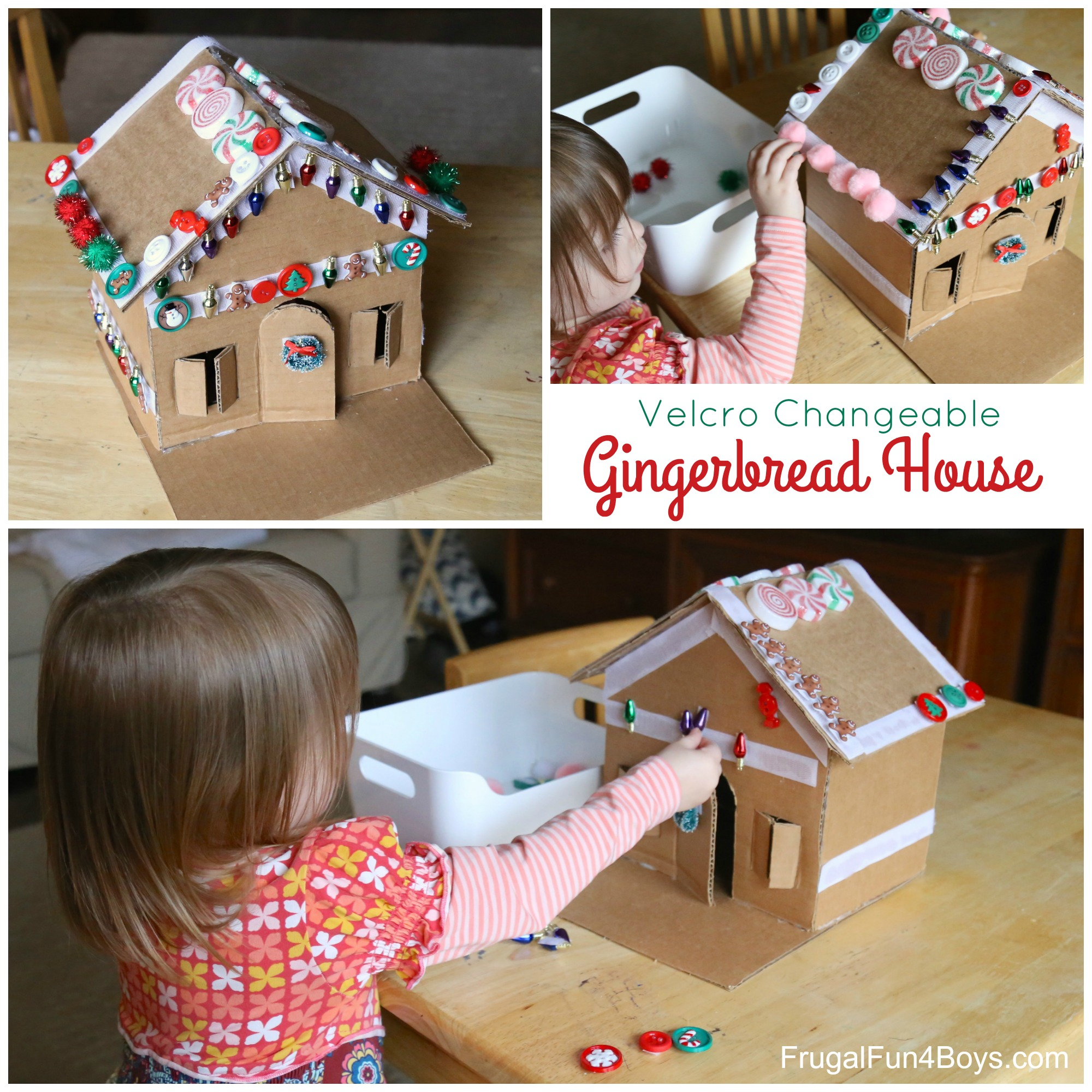 Decorate and Re-Decorate this Velcro Gingerbread House! Fun Christmas Activity!
