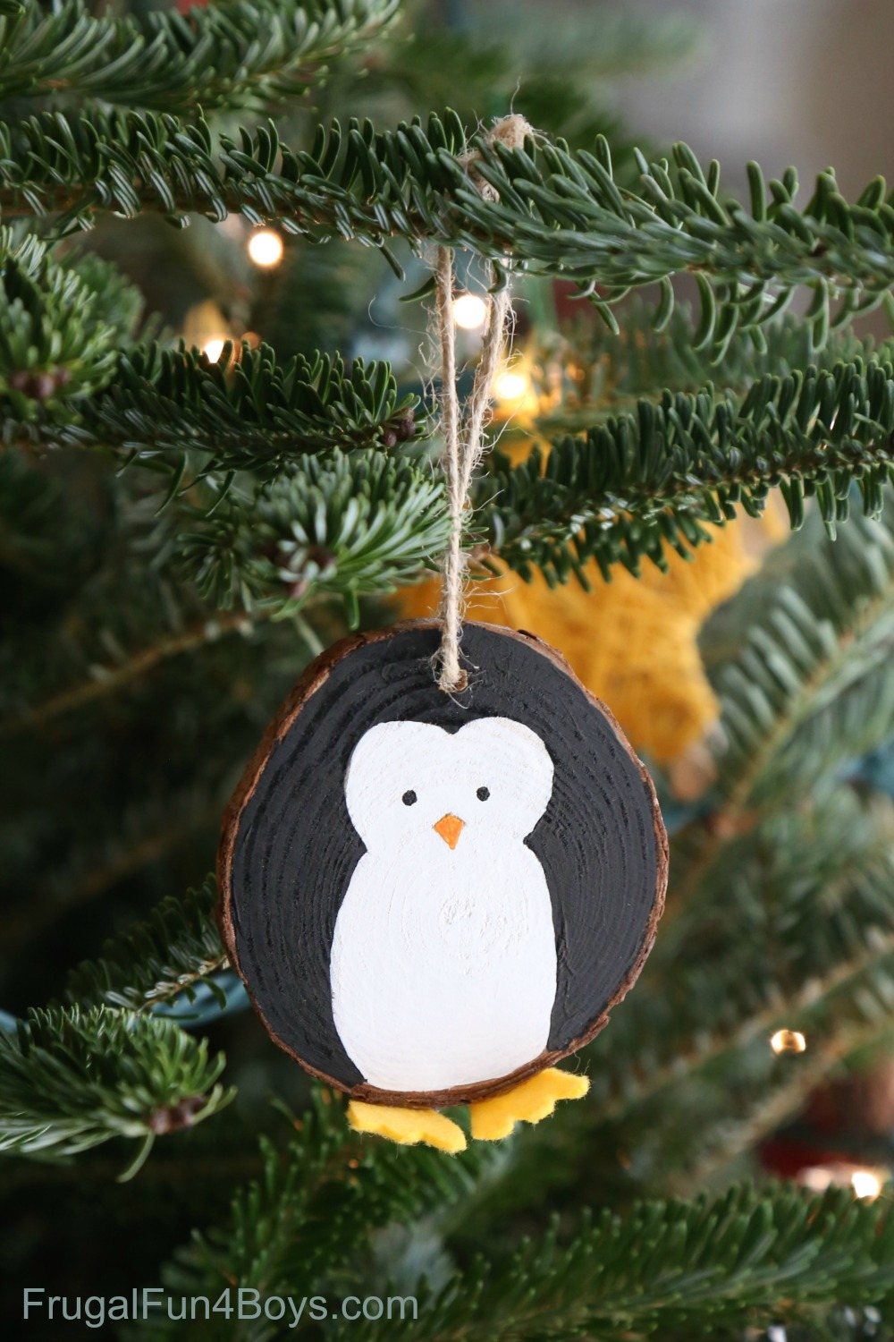Wood Slice Penguin Christmas Ornament