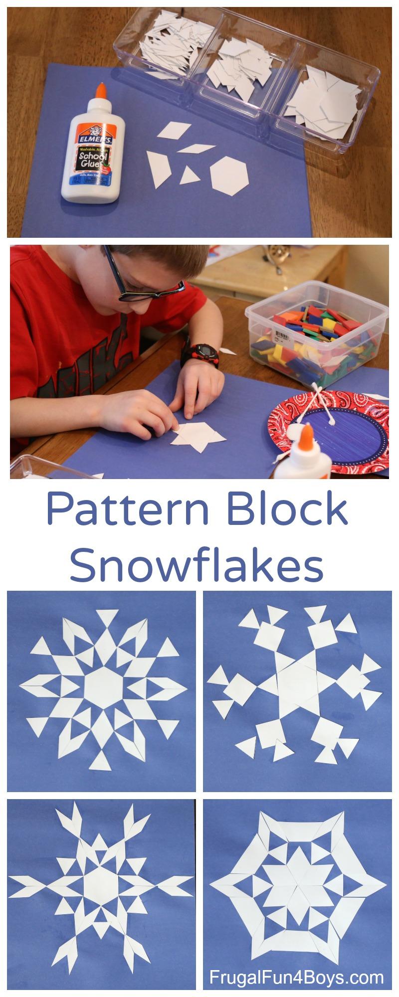 Math Art for Kids: Pattern Block Geometric Snowflakes