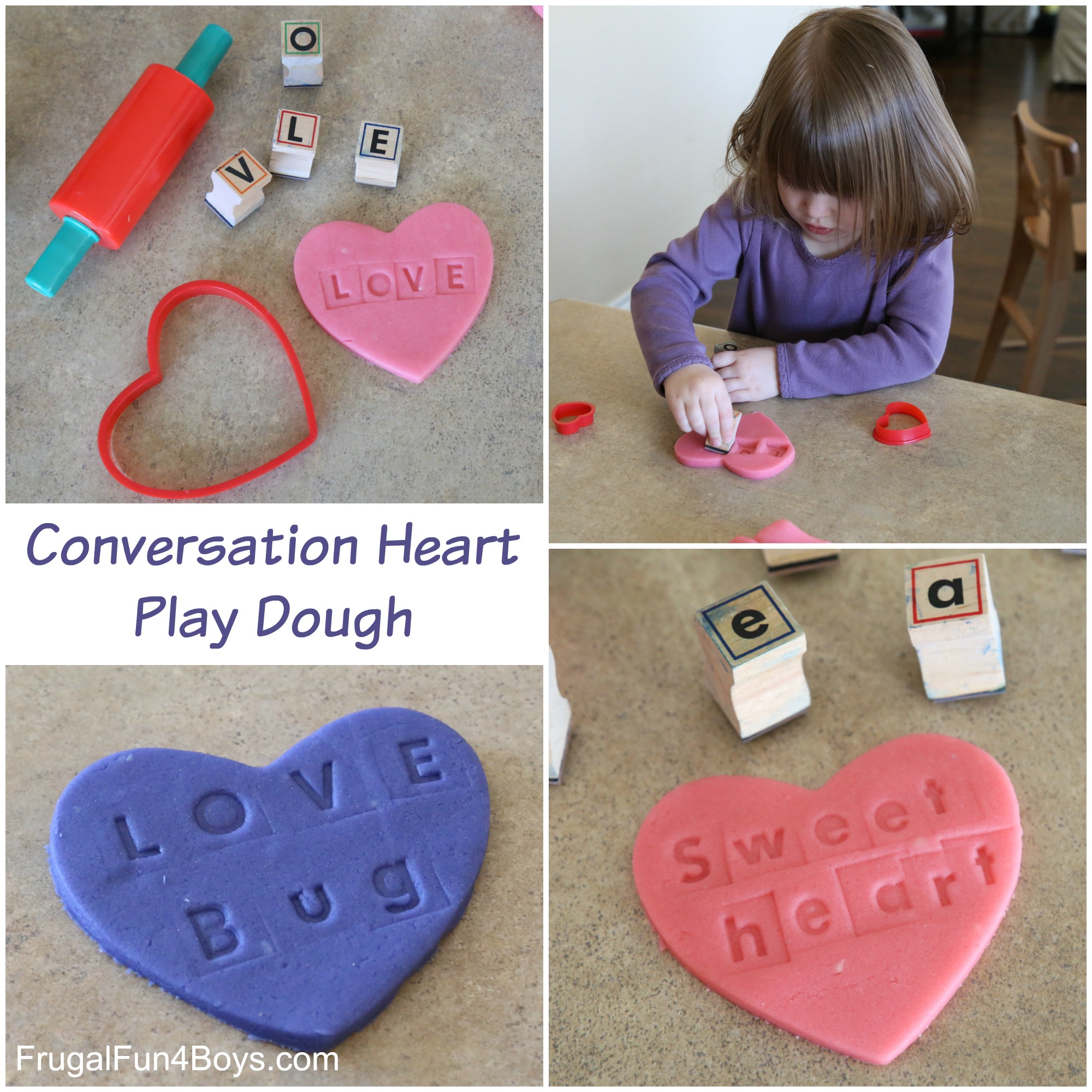 Conversation Hearts Play Dough - Valentine's Day Activity for Kids