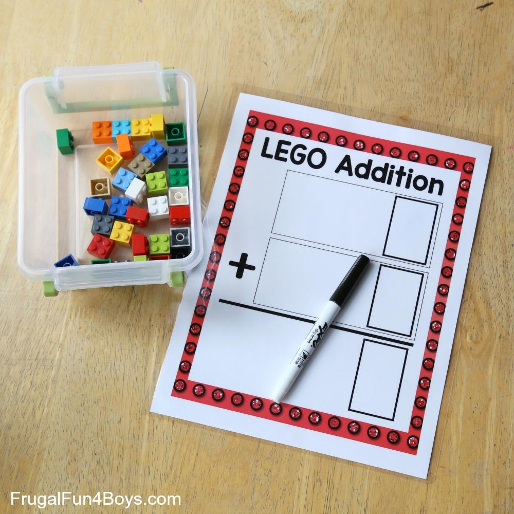LEGO Addition Printable Math Game