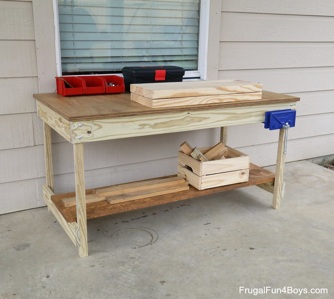 Kids Workbench Plans Build Your Own Kids Woodworking Space Frugal Fun For Boys And Girls