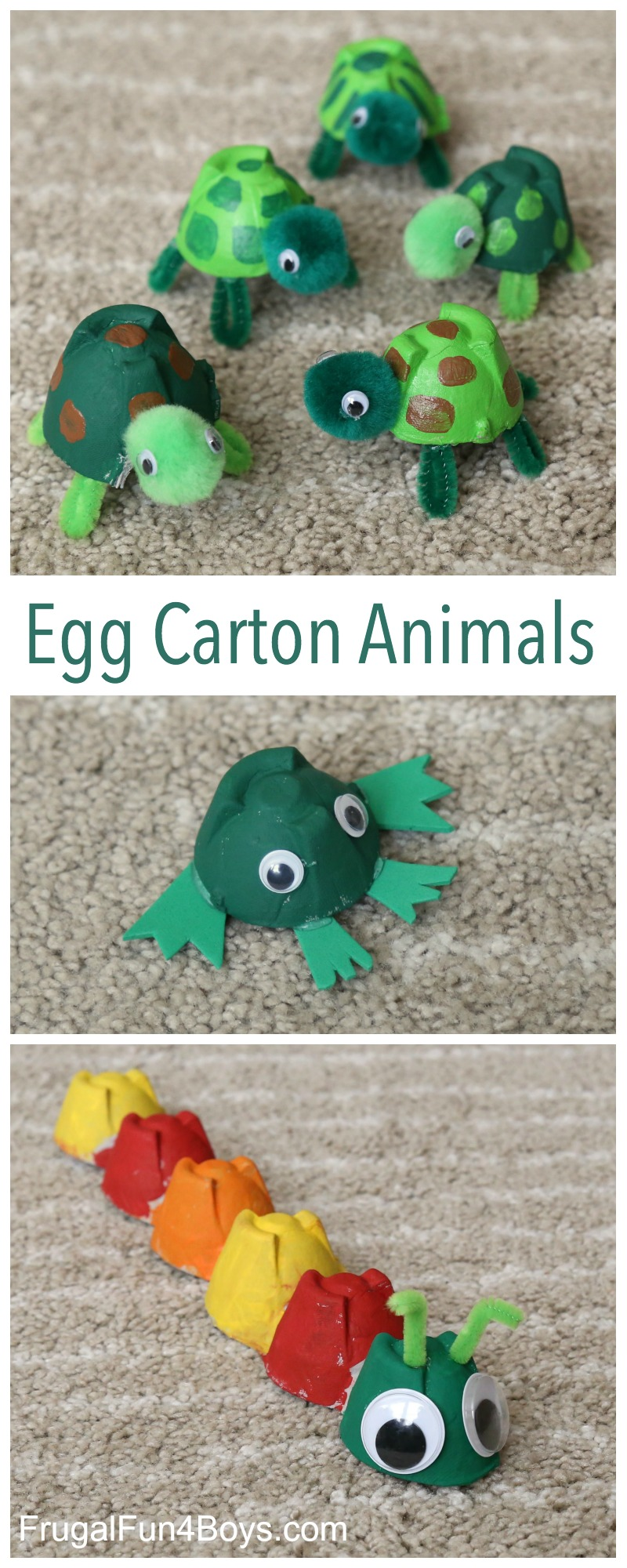 Adorable Egg Carton Turtle Craft And A Caterpillar And Frog