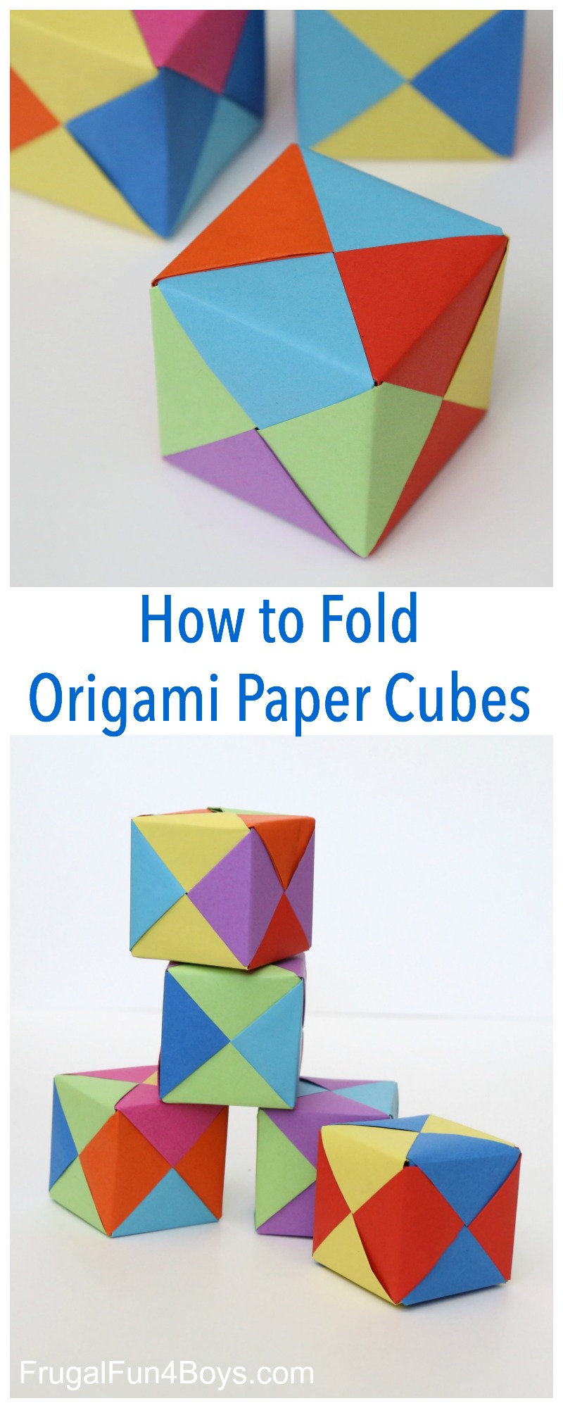 How to Fold Origami Paper Cubes - Frugal Fun For Boys and Girls | 2000x800