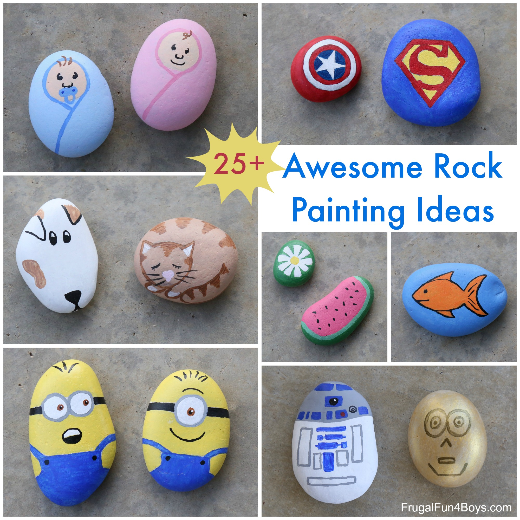 25+ Awesome Rock Painting Ideas , Frugal Fun For Boys and Girls