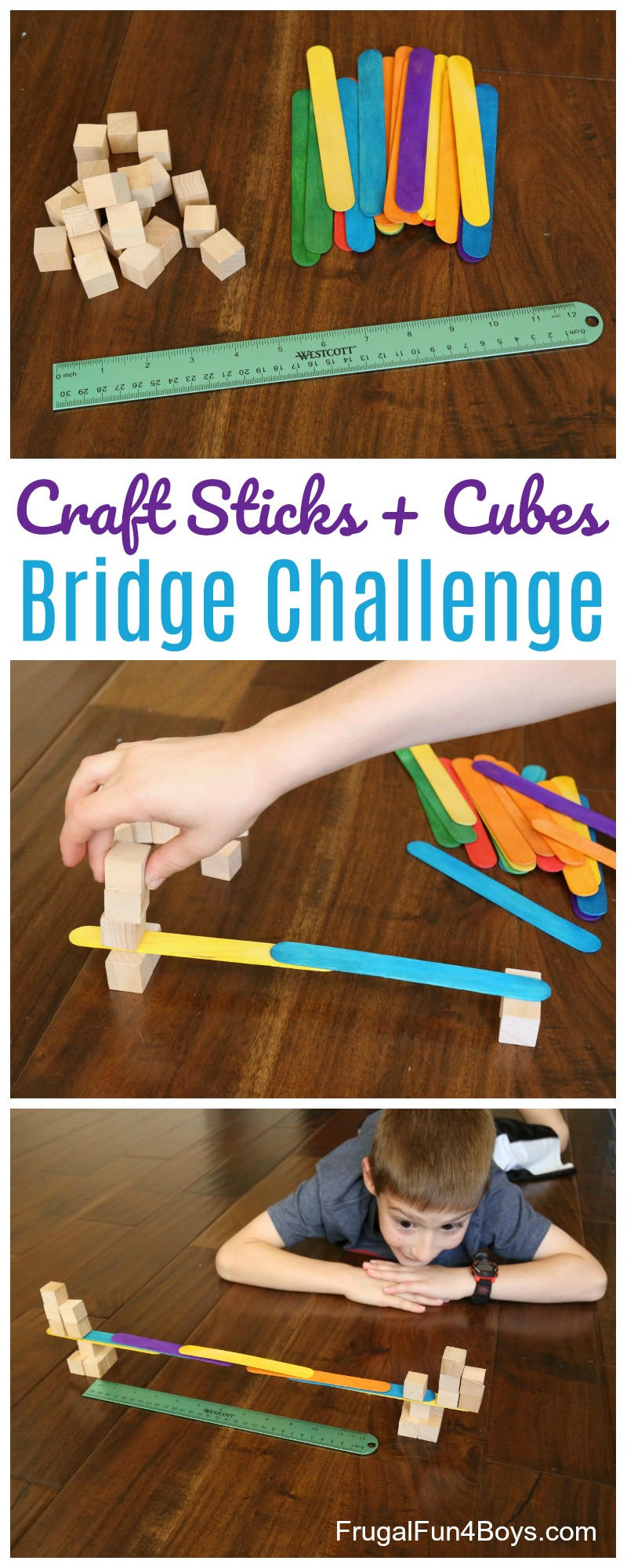 Bridge Building Stem Challenge With Craft Sticks And Wooden Cubes Frugal Fun For Boys And Girls