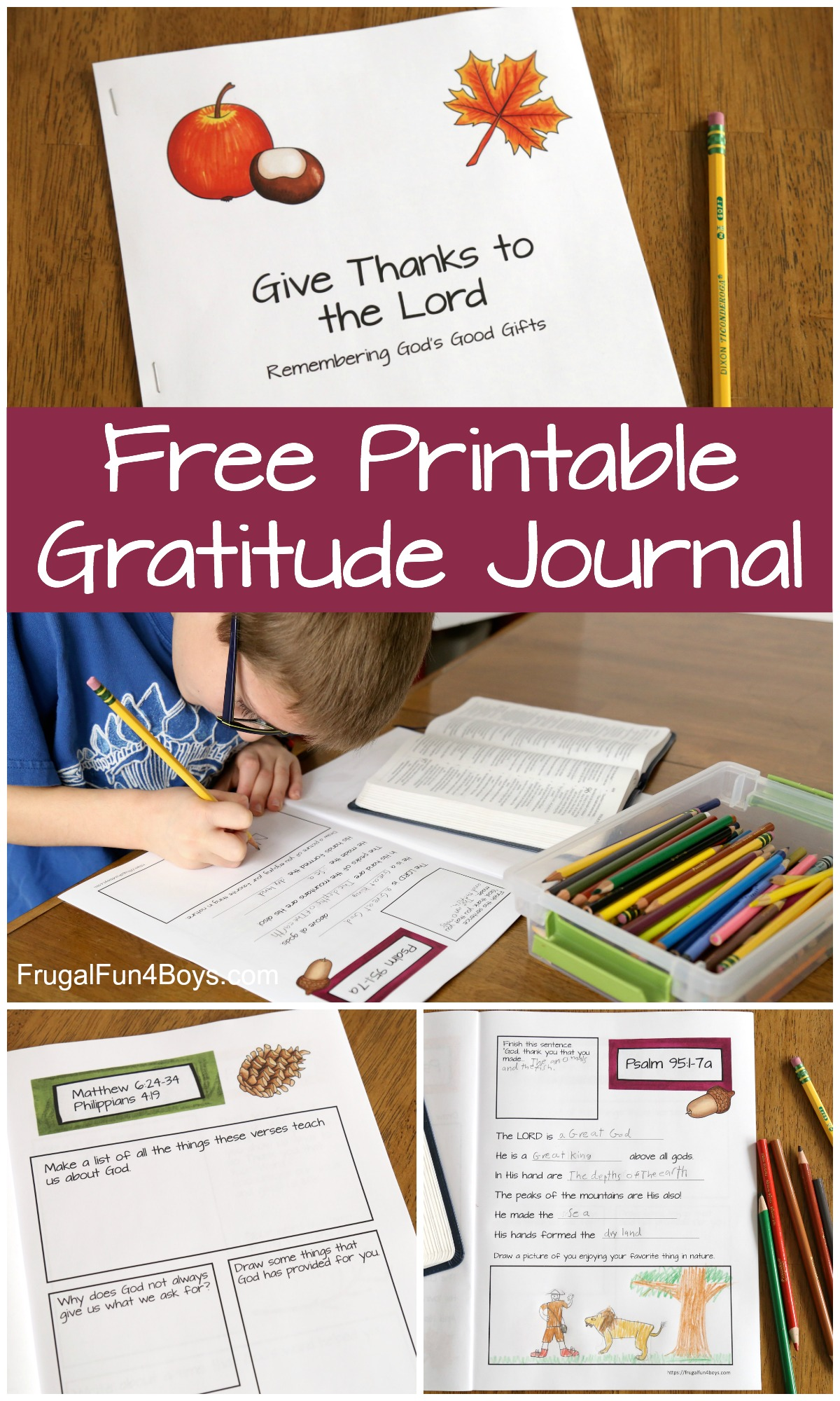 Printable Gratitude Journal For Kids Frugal Fun For Boys And Girls