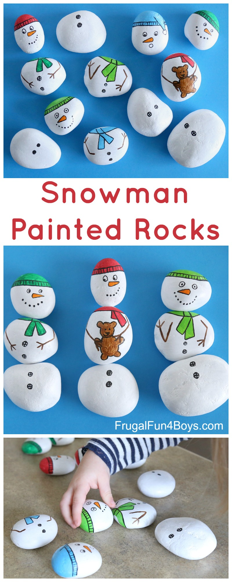 Snowman Painted Rocks Build A Snowman Frugal Fun For Boys And Girls