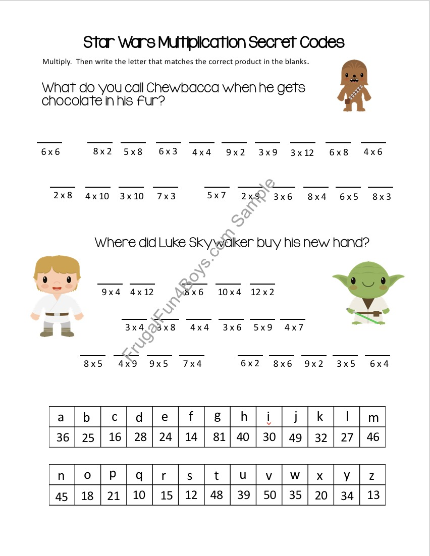 Star Wars Multiplication Practice Puzzle for Little Jedis ...