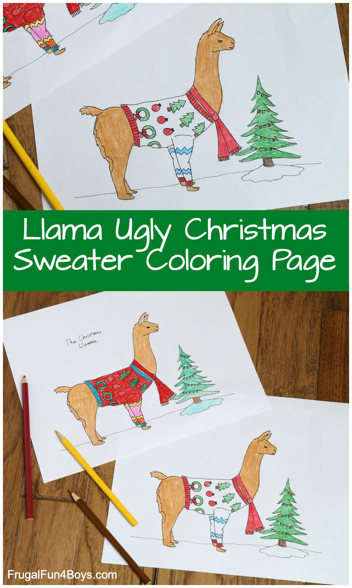 Llama Ugly Sweater Christmas Coloring Page Frugal Fun For Boys