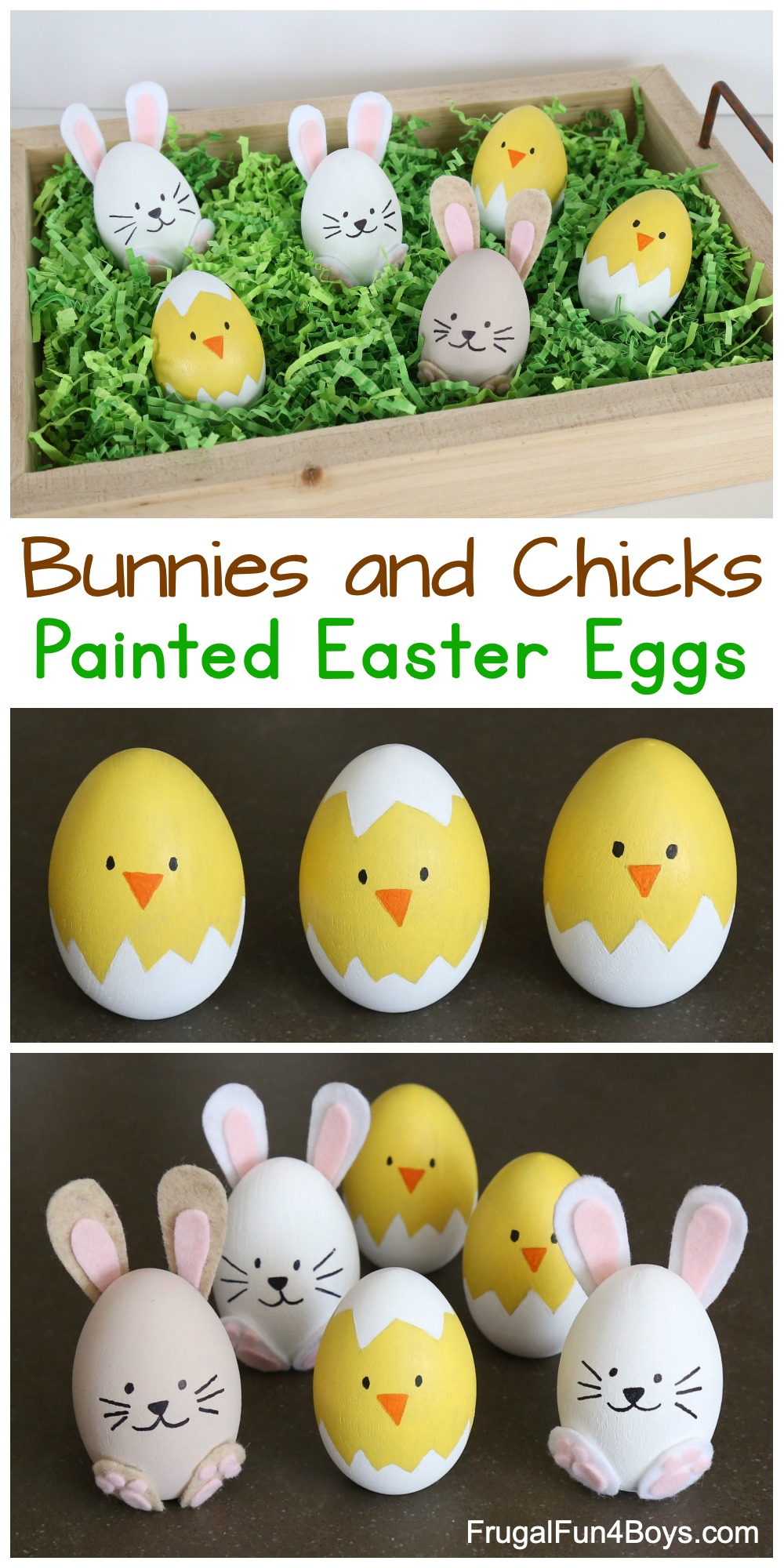 How To Make The Cutest Bunny And Chick Painted Easter Eggs Frugal Fun For Boys And Girls