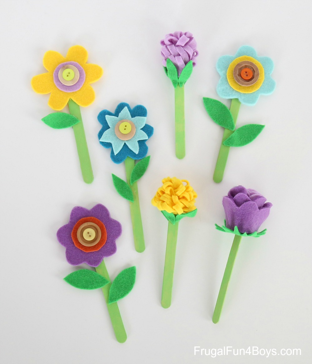 Felt, Popsicle Stick, and Button Flower Craft