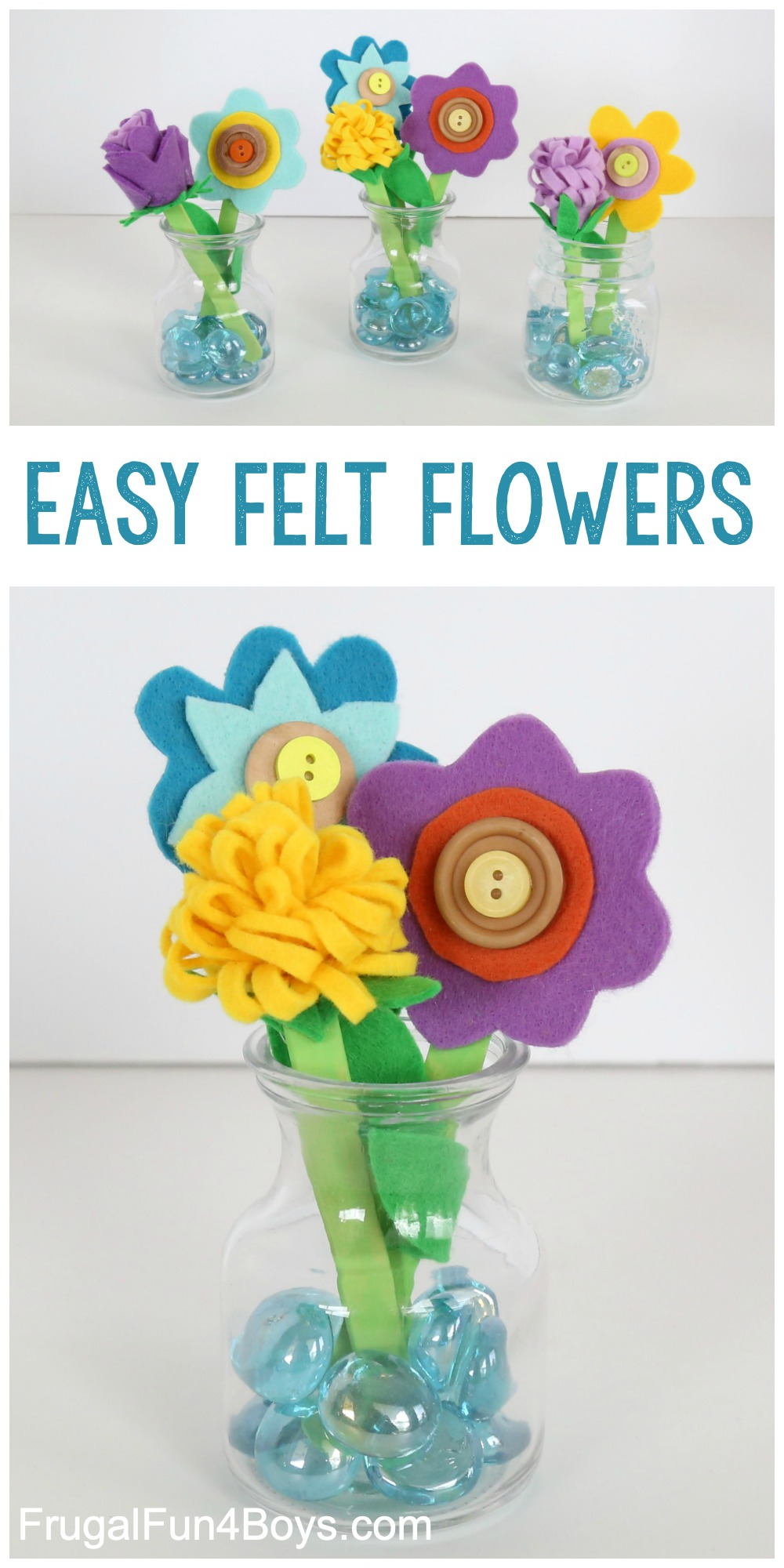 Felt, Popsicle Stick, and Button Flower Craft for Kids
