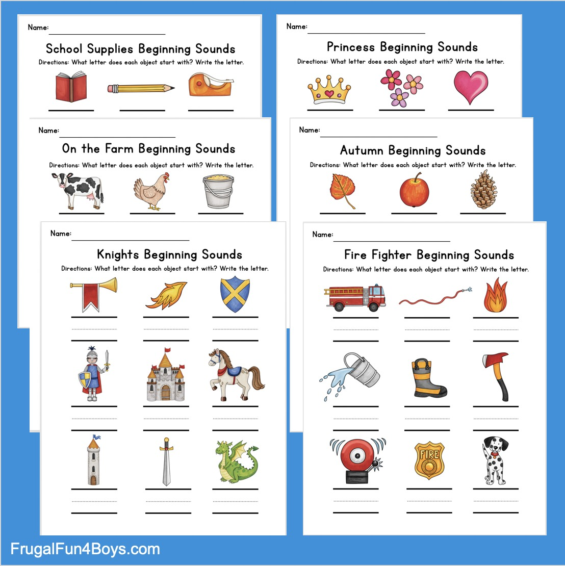 Printable Beginning Sounds Phonics Worksheets Frugal Fun For Boys And Girls