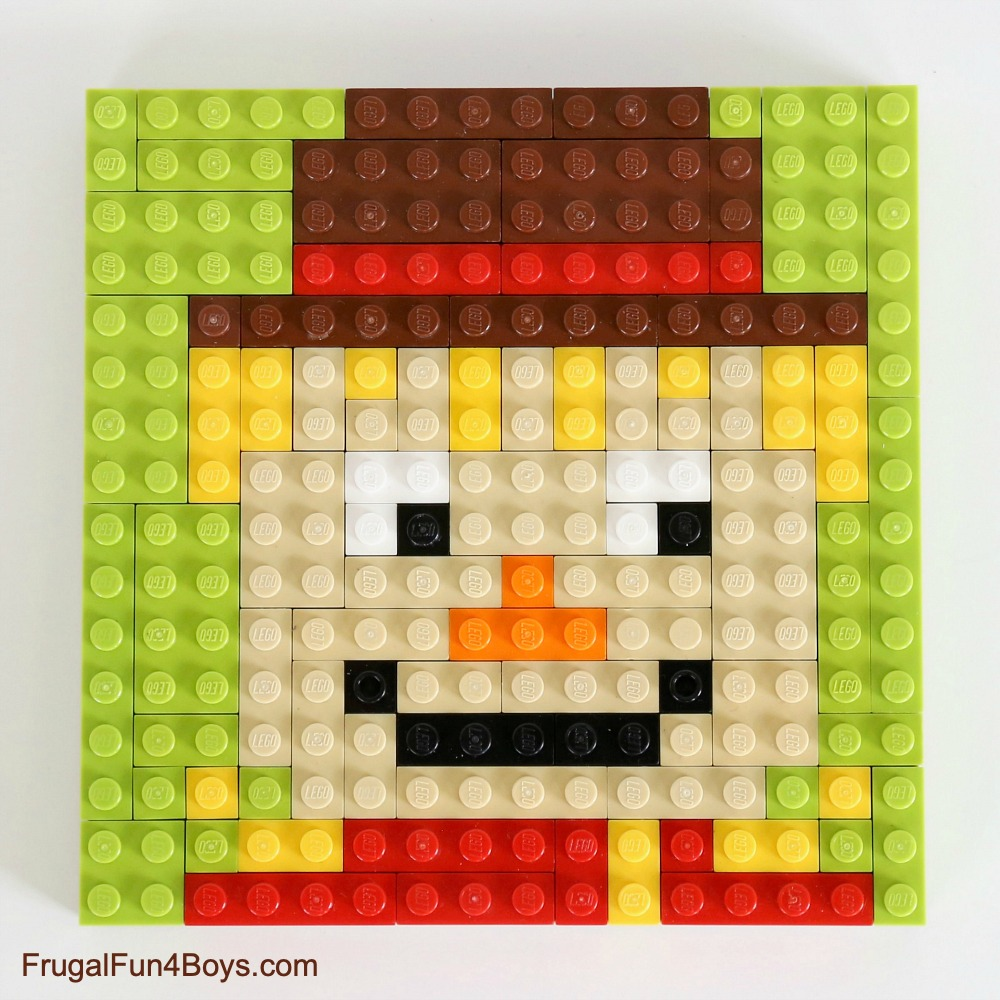 Fall LEGO Mosaic Ideas - Scarecrow