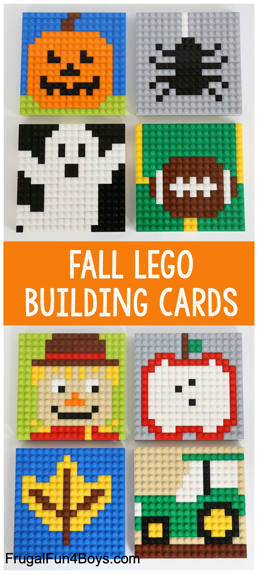 Fall LEGO Mosaic Ideas - Pumpkin, spider, tractor, apple, football, ghost, scarecrow, fall leaf