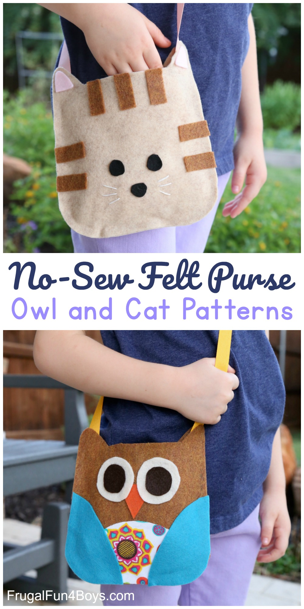 Felt craft patterns for adorable cat and owl purses.