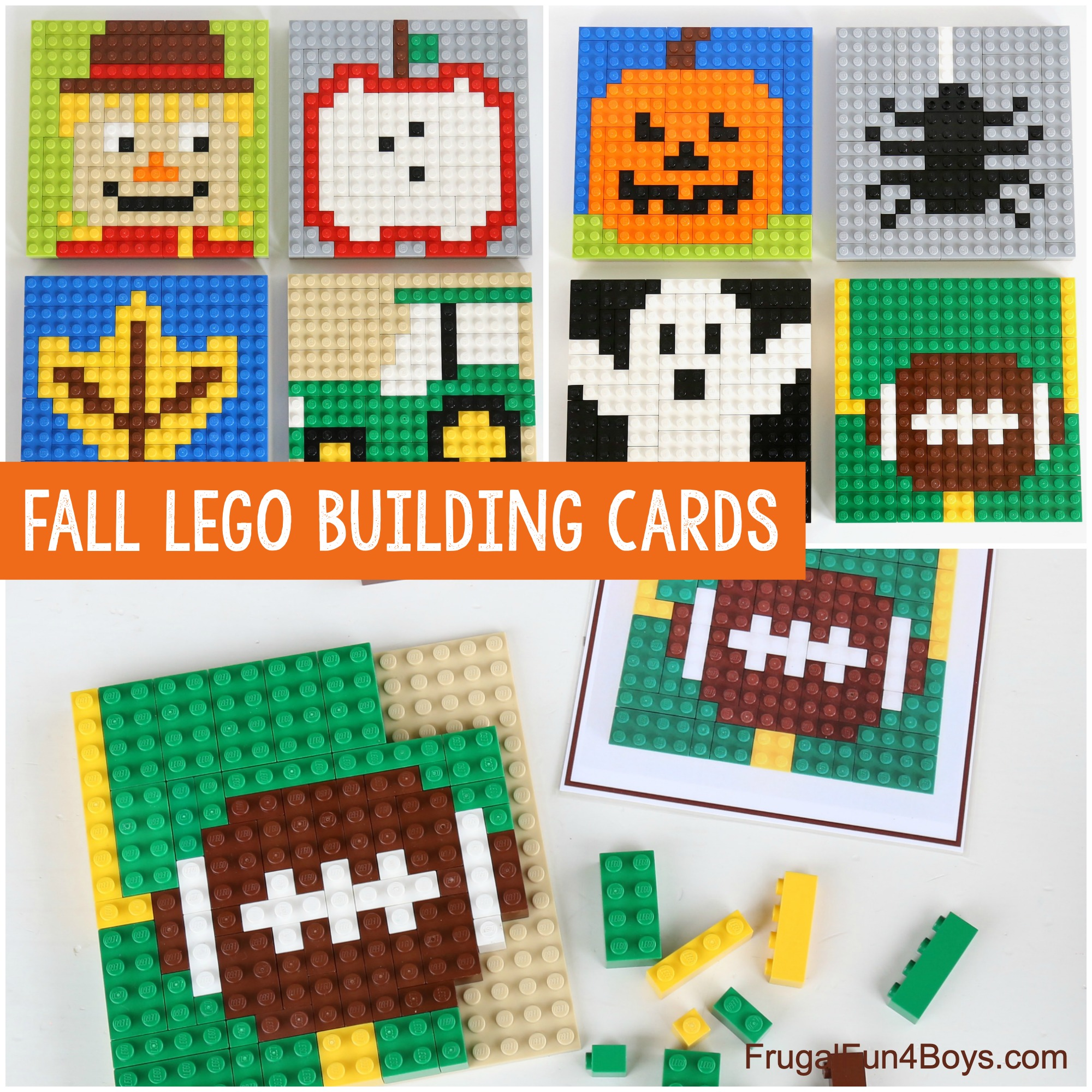 Fall LEGO Building Cards - Fall themed mosaics to build on a LEGO wall or on a baseplate