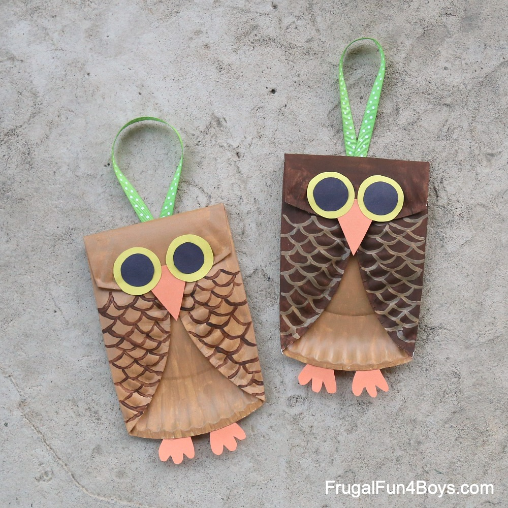 Paper Plate Owl Craft with ribbon for hanging