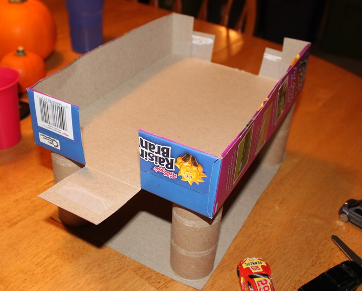 Cereal box parking garage for What type of cardboard are cereal boxes made of