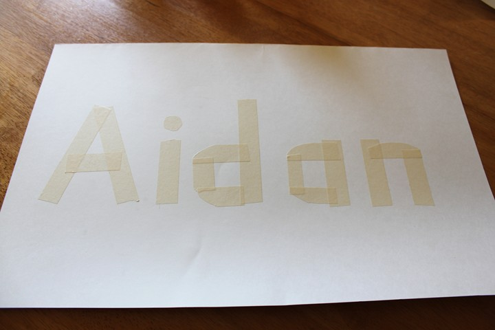 Masking Tape Watercolor Name Project
