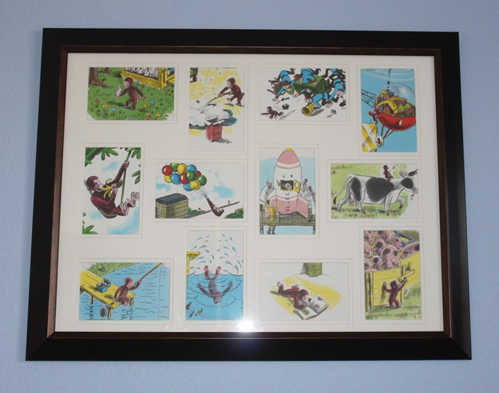This picture is my favorite part of the room  I bought a 12 opening frame  at Bed Bath   Beyond with a 20  off coupon   10 81 with tax   it was  25. Ideas for an Inexpensive Curious George Bedroom