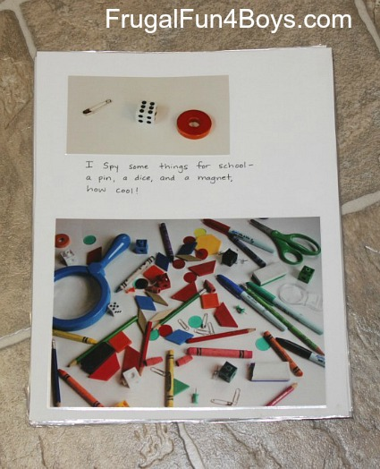 Make your own I Spy book with items from around the house