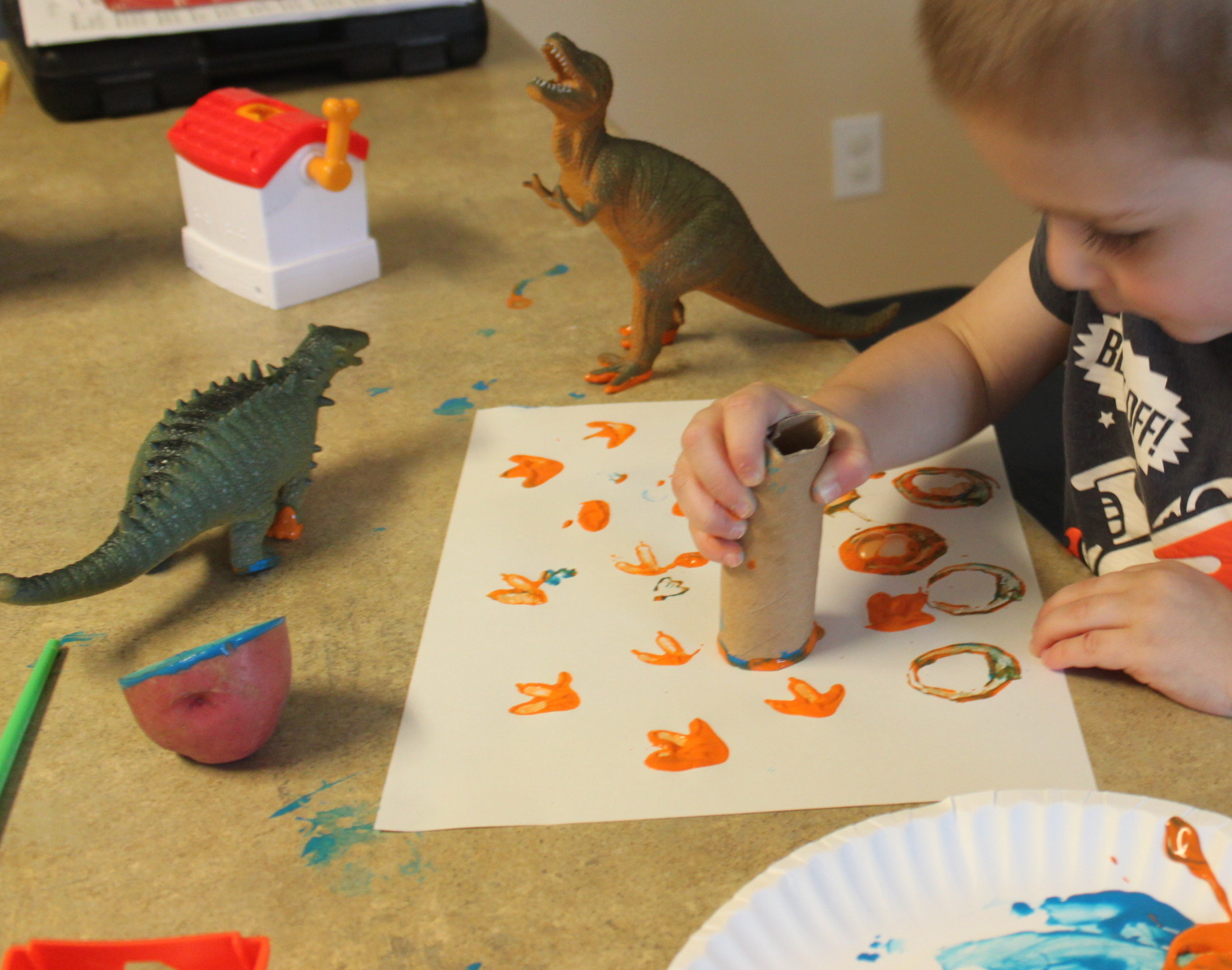 Preschool Art: Stamping with Paint