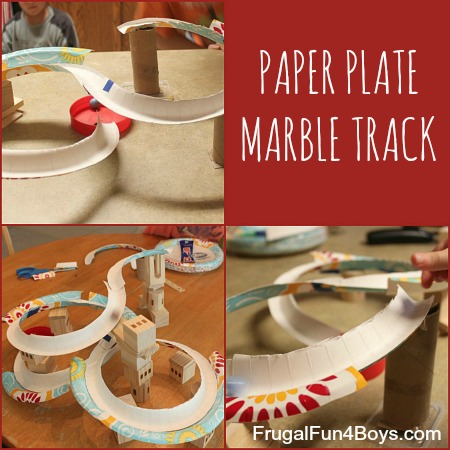 Paper plate marble track