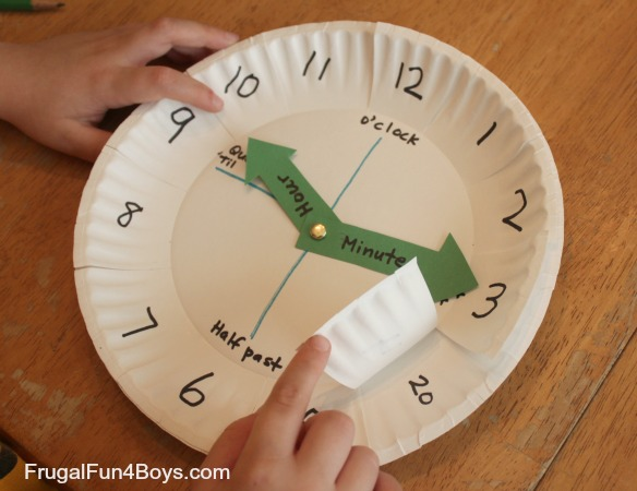 & Paper Plate Clock Activity for Learning to Tell Time