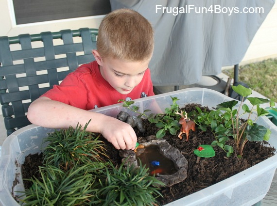 Plant a garden for imaginative play for Backyard pond animals