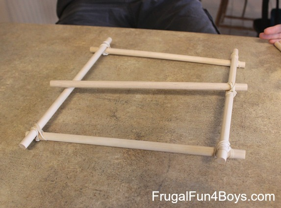 How to make a catapult with dowel rods and rubber bands