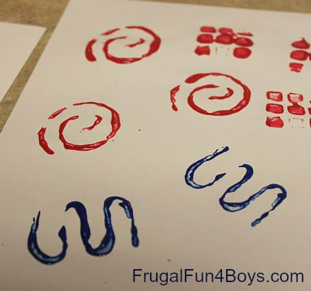 Paint stamping with Wikki Stix