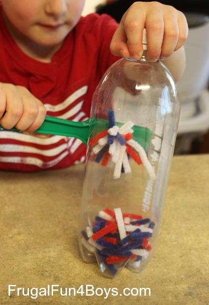 Pipe cleaner and magnet discovery bottle