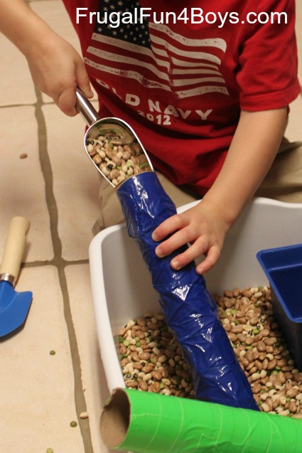 Turn a paper towel roll into an open ended rainstick for sensory play