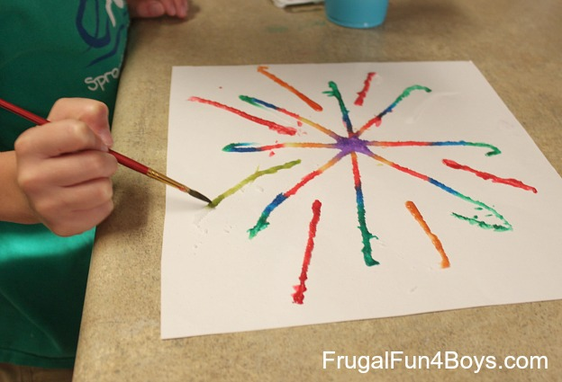 Fireworks painting with salt, glue, and watercolors