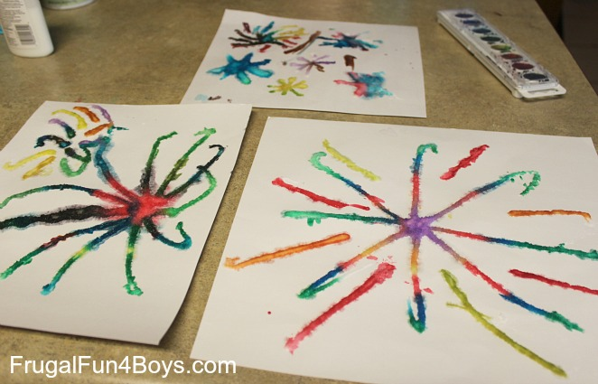Fireworks paintings with salt, glue, and watercolors