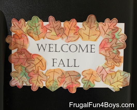 "Craft for Kids: ""Welcome Fall"" Sign with Coffee Filter Leaves"