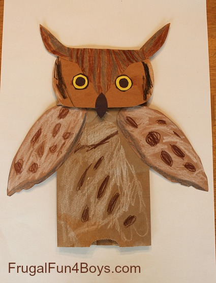 Great Horned Owl Paper Bag Puppets