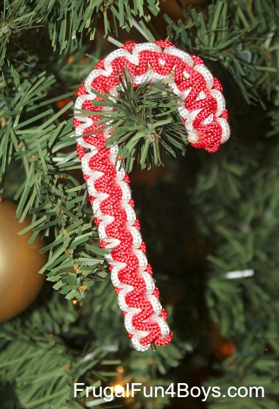 parachute cord paracord candy cane christmas ornaments - Candy Cane Christmas Tree Decorations