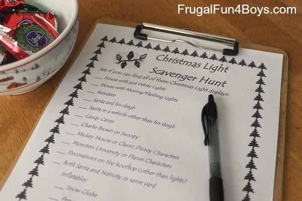Free printable Christmas lights scavenger hunt