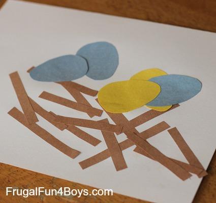 Toddler Craft Construction Paper Birds Nest