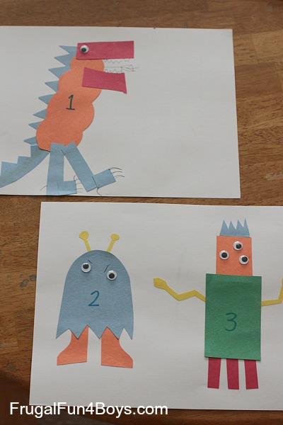 Construction Paper Number Monsters