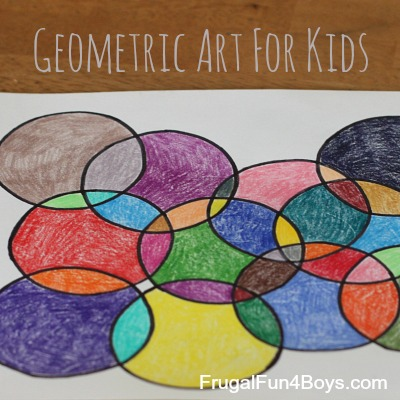 Geometric art project for kids with printable coloring for Arts and craft activities for kids