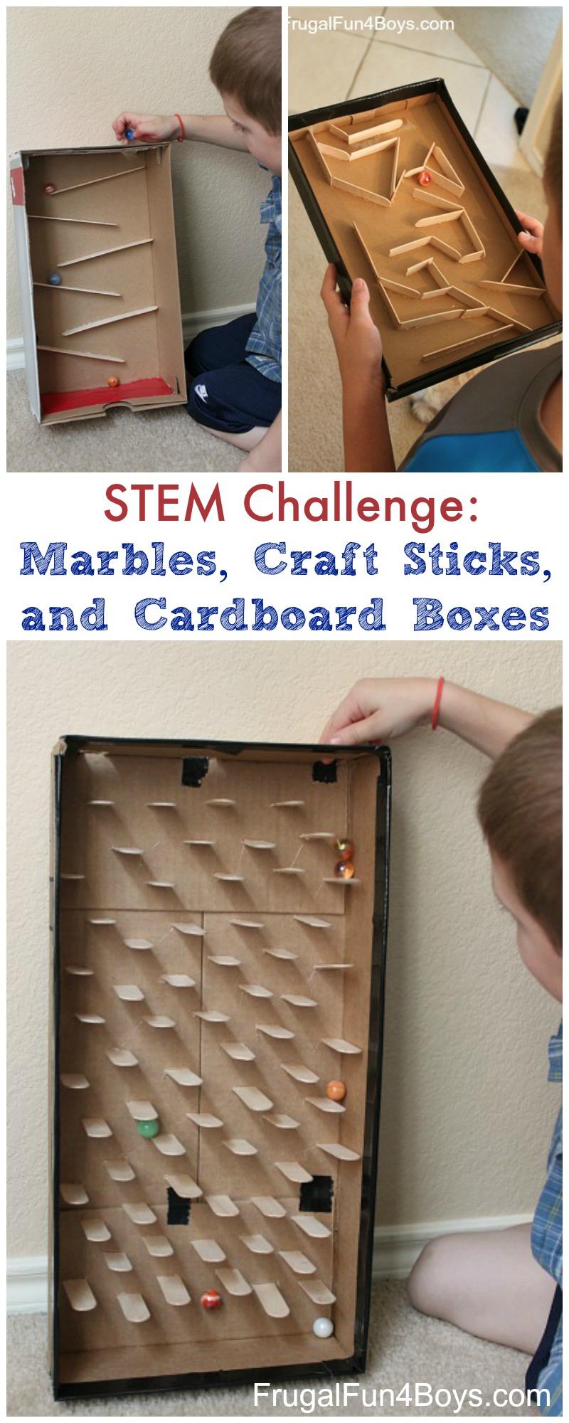 STEM Challenge:  Marbles, Craft Sticks, and Cardboard Boxes