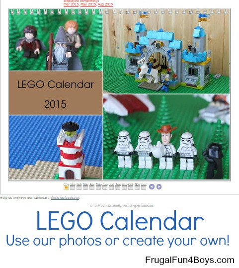 Create your own Lego calendar. Use our photos or create your own!
