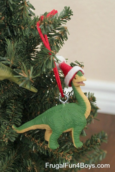 Turn Toy Dinosaurs into Christmas Ornaments - Turn Toy Dinosaurs Into Christmas Ornaments - Frugal Fun For Boys